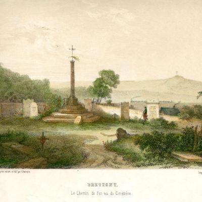 Brétigny, le chemin de fer vu du cimetière, estampe de Jean-Jacques Champin, acquisition 1984 © Musée du château de Dourdan