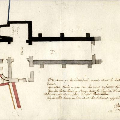 Plan de démolition de l'église Saint-Pierre, 1819, N°1J242, dépôt Archives départementales de l'Essonne 1995 © AD 91
