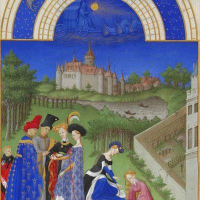 Le château de Dourdan vers 1410, extrait du mois d'avril, les Très riches heures du duc de Berry © Photo. R.M.N. / R.-G. OjŽda