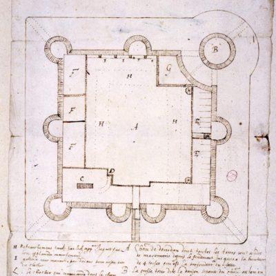 Plan du château de Dourdan en 1597 © Musée du Domaine départemental de Sceaux