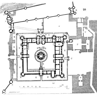 Plan du RDC du château du Louvre, réparé et reconstruit en grande partie sous Charles V, Eugène Viollet-le-Duc, Dictionnaire raisonné de l'architecture du XIe au XVIe siècle, 1854-1868