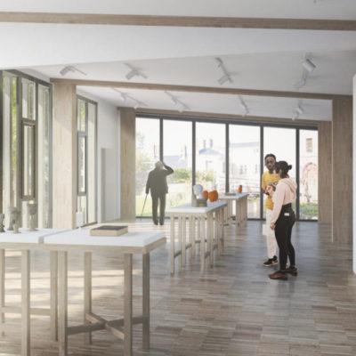 Extension, vue intérieure, salle modulable © Perspective 3D Margaux Botton