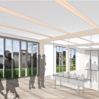 Extension, vue intérieure, salle modulable © Soja Architecture