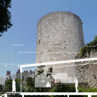 Donjon et profil du bâtiment d'extension © Soja Architecture / Maindor Dourdan