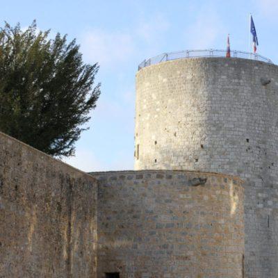 Travaux d'étanchéité de la tour médiane et du donjon en 2015 © Musée du château de Dourdan