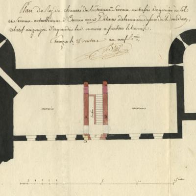 Plan du rez-de chaussée autrefois grenier à sel servant d'ouvroirs aux détenus © AD91